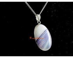 Purple Lace Agate Cabochon Pendant with Necklace