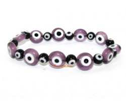 Purple with Black Evil Eye Beads Bracelet