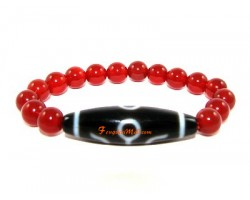 Tibetan Dzi Bead of Your Choice with Red Agate Bracelet