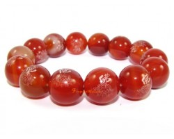 Red Agate Lotus Bracelet (14mm)