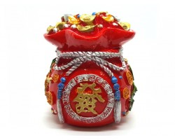 Red Auspicious Wealth Bag Coin Bank