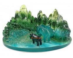 Rhinoceros and Elephant in Natural Habitat