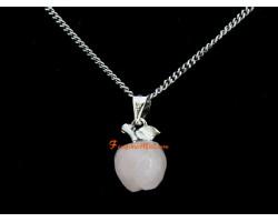 Faceted Apple Pendant Necklace - Rose Quartz