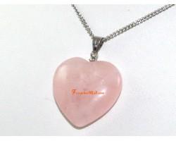 Puffy Heart Rose Quartz Pendant for Love (L)