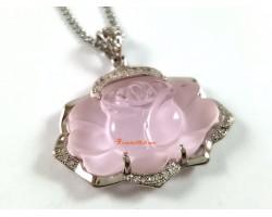 Rose Quartz Rose Pendant
