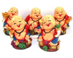 Set of Five Colorful and Adorable Good Fortune Laughing Buddhas