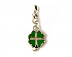 Silver Plated Four-Leaf Clover Dangle Pendant Charm