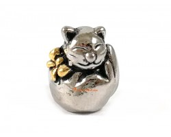 Silver Plated Wealth Beckoning Fortune Cat Bead Charm