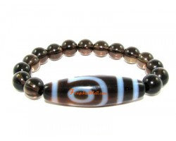 Tibetan Dzi Bead of Your Choice with Smokey Quartz Bracelet