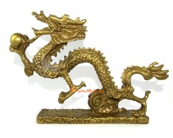 Brass Soaring Dragon Grasping Ball for Success