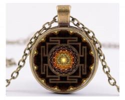 Sri Yantra Mandala Glass Dome Pendant Necklace