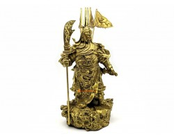 Brass Majestic Five Flags Kwan Kung Statue (L)