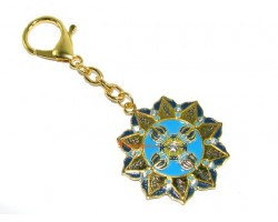 Ten Hum with Double Dorje Wheel Keychain