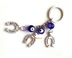 Three Evil Eyes with Horse Shoes Keychain