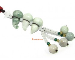 Three Jade Wu Lou for Health Beaded Amulet