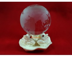 Three Money Frogs with Crystal Globe