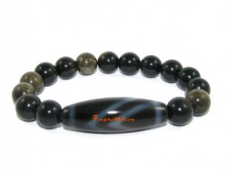 Tibetan Dzi Bead of your Choice with Golden Obsidian Bracelet