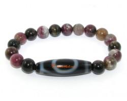 Tibetan Dzi Bead of your Choice with Tourmaline Bracelet
