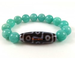 Tibetan Dzi Bead with Amazonite Stone Bracelet