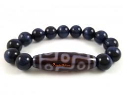 Tibetan Dzi Bead with Blue Tiger's Eye Crystal Bracelet