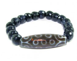 Tibetan Dzi Bead of Your Choice with Faceted Blue Goldsand Bracelet