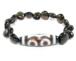 Tibetan Dzi Bead of Your Choice with Smoky Quartz Heart Bracelet