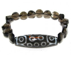 Tibetan Dzi Bead of Your Choice with Smoky Quartz Star of David Bracelet