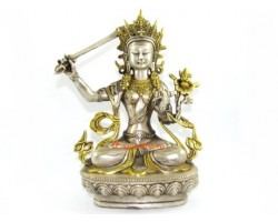 Brass Tibetan Manjushri Bodhisattva of Wisdom Statue
