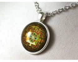 Tibetan Spiritual Buddhist Kalachakra Mandala Pendant Necklace