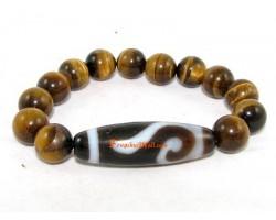 Tibetan Dzi Bead of Your Choice with Tiger's Eye Bracelet