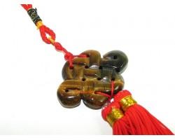 Tiger's Eye FengShui Mystic Knot Tassel