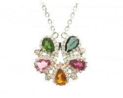 Tourmaline Flower 925 Silver Jewel Pendant (Top Grade)
