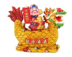 Wealth God Holding Wealth Pot on Good Fortune Dragon