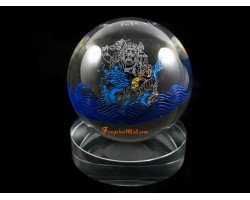 Crystal Ball with White Dzambala Tibetan Wealth God