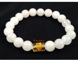 White Jade Om Mani Padme Hum Bracelet