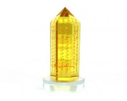 Yellow Crystal Point with Sacred Increasing Mantras