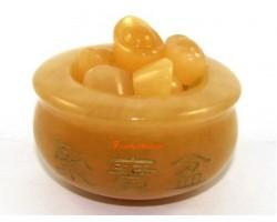 Yellow Jasper Wealth Pot with Ingots