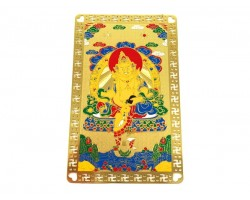 Yellow Zhambala Tibetan Wealth God Metal Card