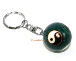 Yin Yang Bao Ding Health Iron Ball Keychain (Green)