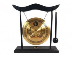 Zen Double Dragon Feng Shui Desktop Brass Gong