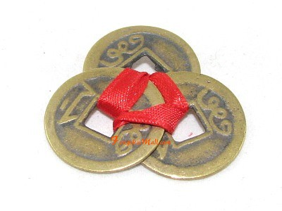 3 Brass Coins Knotted With Red Ribbon Set Of 3 Feng Shui Coins