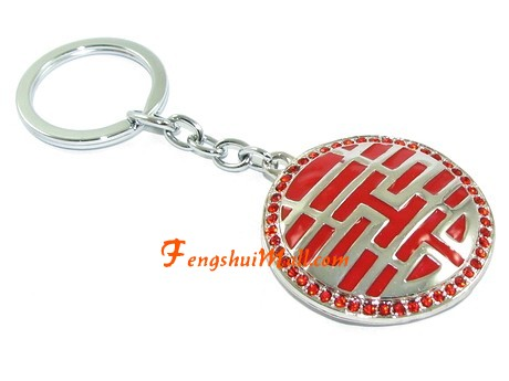 Bejeweled Double Happiness Keychain For Love Luck Feng Shui Love
