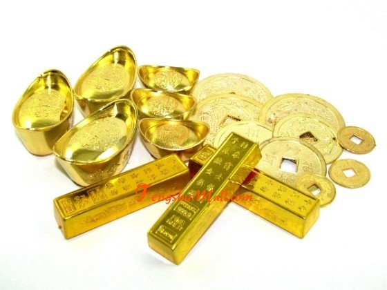 Gold Bars Ingots And Coins Set