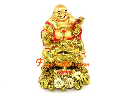 Laughing Buddha On Money Frog And Treasure Chinese Lucky Symbol