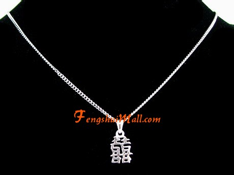 Silver Double Happiness Pendant For Love Luck Feng Shui Jewelries