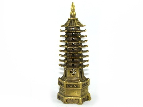 Brass Nine Level Feng Shui Pagoda for Examination and Career Luck