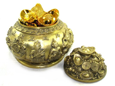 Brass Wealth Pot with Five Wealth Gods for All Round Money Luck