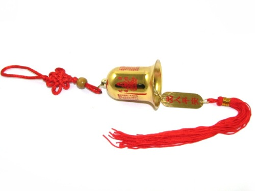Golden Kuanyin Protection Bell Hanging for Protection and Good Tidings