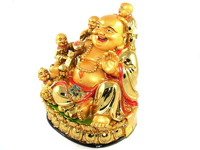 Laughing Buddha with Five Kids for Happy Family and Obedient Children