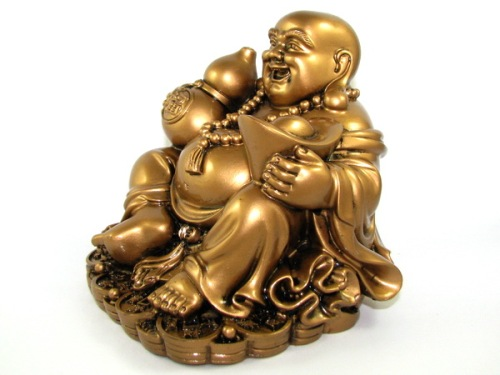 Laughing Buddha with Wulou and Gold Ingot for Health and Wealth Luck